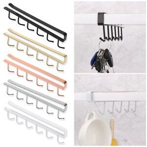 6 Hooks Metal Under Shelf Mug Cup Cupboard Kitchen Organiser Hanging Rack Holder