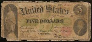 LARGE 1862 $5 DOLLAR BILL UNITED STATES GREENBACK LEGAL TENDER NOTE PAPER MONEY