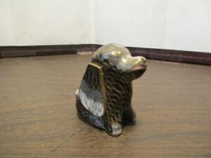 Vintage Cloisonne Dog - Puppy Figurine - Brass & Enamel - Heinz 57 Variety
