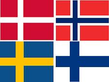 Aufkleber SET Fahne Norwegen Schweden Dänemark Finnland Sticker Autoaufkleber