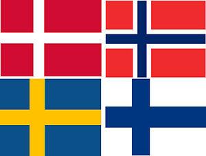 5,4x8,4cm Premium Auto Aufkleber Set Norwegen Schweden Dänemark Finnland Sticker