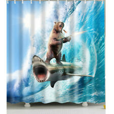 1 Pc Waterproof Bear-Shooting-and-Shark Shower Curtain for Home and Bathroom