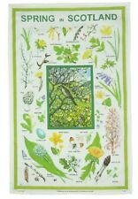 SCOTTISH SEASONS TEA TOWELS SET OF 4  SPRING SUMMER AUTUMN WINTER PLANTS INSECTS