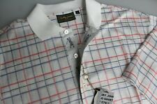 "Bobby Jones 100% Cotton Golf Polo Shirt White + Red + Blue Check XL/XXL 44/46"""