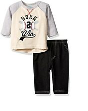 BON BEBE Boys' 2 Piece Long Sleeve Top with Side Snaps and Knit Denim Pant