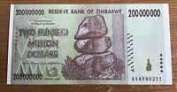 Zimbabwe 200 Million Dollars Banknote. Harare 2008. UNC. P81. AA Prefix.