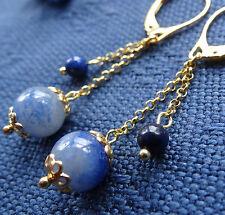 NWT GOLD silver lapis lazuli aventurine bead chain dangle pierced earrings K81