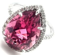 Rare! Authentic Tiffany & Co Platinum Diamond Large Pink Tourmaline Ring