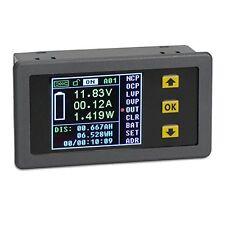 DROK DC 0-120V 0-30A LCD Display Digital Current Voltage Watt Capacity Time...