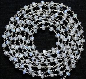 3 Feet Rainbow Moonstone 3-4mm Rosary Beaded Chain Silver Plated Wire Wrapped