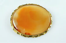 Very Large Gold-Filled Agate Pin Broach