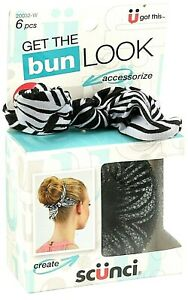 Scunci Get The Bun Look Hair Accessory Bun Maker 6 Piece Kit Black & White NEW