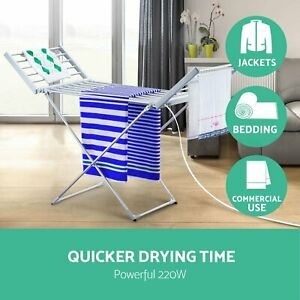 Electric Heated Clothes Towel Rack Dryer Warmer Airer Rail Free Standing Ladder