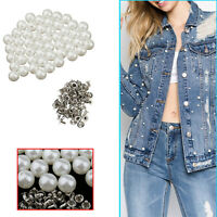 Pearls Rivets Studs Buttons with Pins Shoes Bag Clothes DIY Leathercraft 100Sets