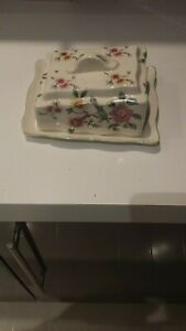butter/cheese dish with flower pattern