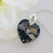 925 Silver Crystal Heart Necklace Swarovski Elements Pendant Silver Night Black