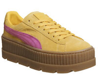 PUMA Women's FENTYxRIHANNA Cleated Suede Creeper, Lemon/Carmine Trainers UK 5