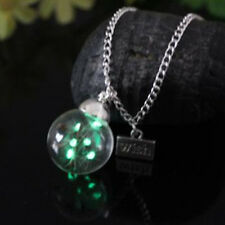 Chic Women Glow in the dark Luminous Real Dandelion Seeds Pendant Necklace Gift