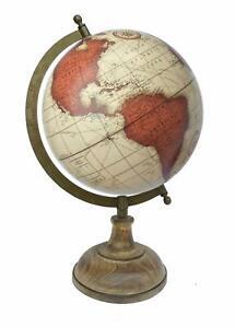 Globe World Map Antique Globe Beautiful Table Decor Home Office Beige 12.5 inch.
