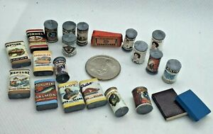 Vintage Huge Lot of 22 Shackman Dollhouse Miniature Kitchen Canned Goods