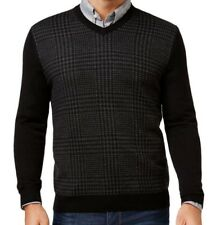 b9abe8c0939 Club Room Mens Sweater Size XL Black Wool Houndstooth V-neck Pullover