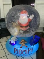 Gemmy Airblown Inflatable Snow Globe Rudolph The Red Nosed Reindeer With Santa