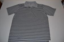 ADIDAS GOLF GRAY BLACK STRIPED DRY FIT POLO SHIRT MENS SIZE LARGE L