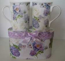 Set of Two Bone China Purple Rose and Hydrangea Mugs Gift Boxed Lovely Gift