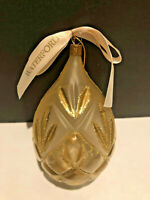Waterford Holiday Ball Egg Shape Glitter Gold Vintage Christmas Ornament