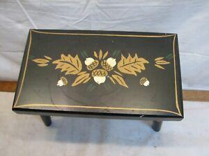 Vintage Tole Painted Leola PA Dutch Oak Leaf Acorn Wooden Foot Stool Bench