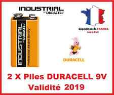 2 Piles DURACELL Industrial 9V / 6LR61 / PP3  / MN1604 - DLC 2019