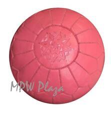 MPW Plaza Pouf, Pink, Moroccan Leather Ottoman (Stuffed)
