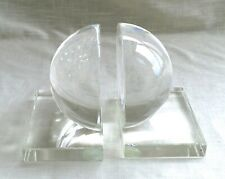 Pair of Heavy Vintage Clear Glass Half Magnifying Sphere Book Ends