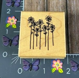 Dots Daises For You Flowers Rubber Stamp E302 Long Stem Garden Wood #J121
