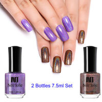 2Bottles NEE JOLIE 7.5ml Nagel Polish Holographisch Glitzer Nail Art Design