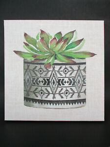 "16"" x 16"" Stretched Canvas Wall Art ""Cactus Mud Cloth Vase"" Cindy Jacobs 2019"