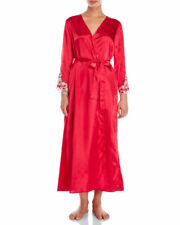 Flora Nikrooz Stella Long Robe L XL Crimson Red Silky Satin LS New