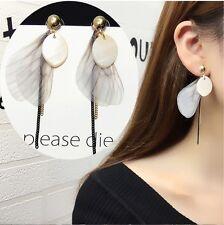 Women's Bohemian Stone Pendant Feather Wing Tassel Drop Dangle Earrings Gift UK