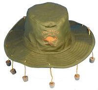 Australian Green Hat with Corks Fancy Dress Fun Party Accessory