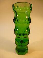 Art Deco Kristall Glas Vase Schliff grün Böhmen um 1930 Luftblase
