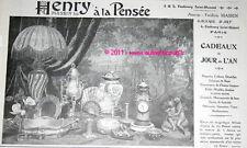 HENRY A LA PENSEE Bibelot eventail publicité 1913 pub