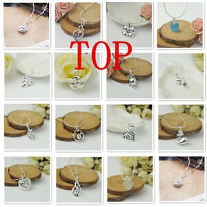 Top Wholesale Women Jewelry 925 Sterling Silver Crystal Pendants Necklace Chains