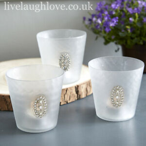 Set Of 3 Large Glass Tea Light/Candle Holders With Oval Diamante Brooch