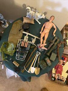 Large Vintage G.I. Joe Soldier Dolls Accessories Bundle Lot Bunch Group