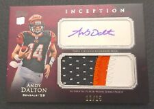 #12/25 Andy Dalton 2011 Topps Inception Red Auto Jersey Patch RC