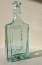 H Lakes Indian Specific Antique Medicine Pontil Bottle Crude Carved Ice Aqua