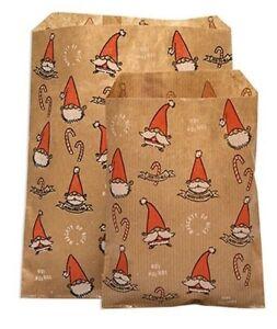 Smiling Santa Gonk Kraft Paper Counter Bags, Festive Christmas Party 2 SIZES