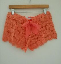 New Mud Pie Ella Crochet Lace Coral Beach Shorts  Medium