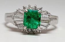 0.66ct Fine EMERALD PLATINUM Ring - R9581