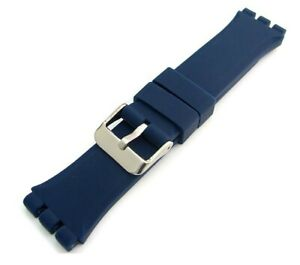 Black Blue Top Quality Rubber 19mm 22mm Strap fits Swatch Chrono Irony Sistem51